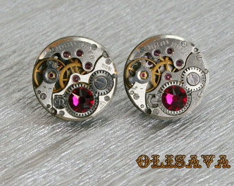 Steampunk Stud Earrings with  Mechanical Watch Movement and Ruby  Swarovski crystals , Clockwork Watch Movement Earrings , Steampunk jewelry