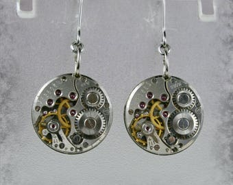 Steampunk Earrings with  Vintage Mechanical Watch Movement , Steampunk Earrings , Vintage Clockwork Watch Movement Earrings