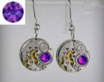Steampunk Earrings with  Mechanical Watch Movement , Violet Crystal Heliotrope Swarovski crystals , Steampunk  Clockwork  Movement Earrings