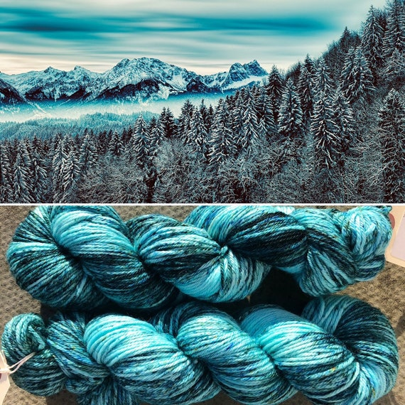 Frozen Forest DK, merino nylon winter yarn