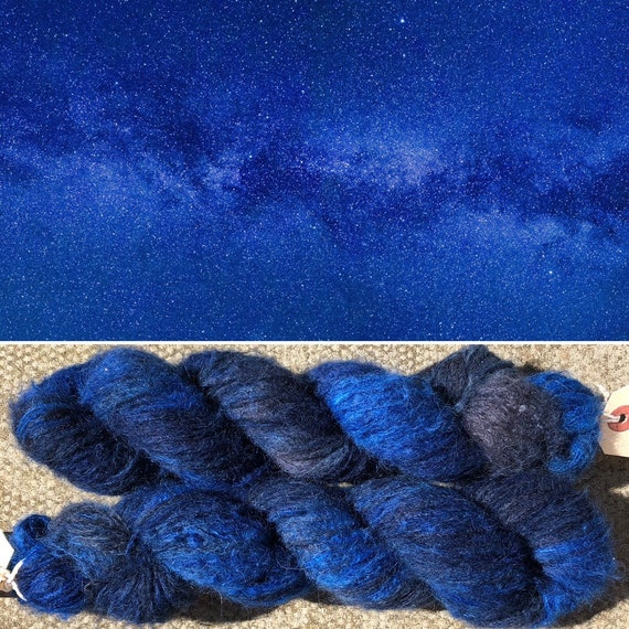 Midnight Sky Cloud 50g, baby suri alpaca and mulberry silk yarn