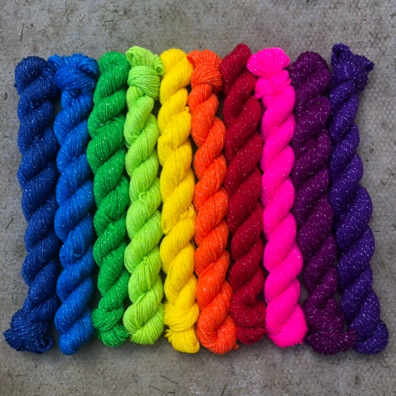 Sparkly Rainbow Miniskein Gift Set, 10 x 20g bright solid colour merino nylon sock yarn