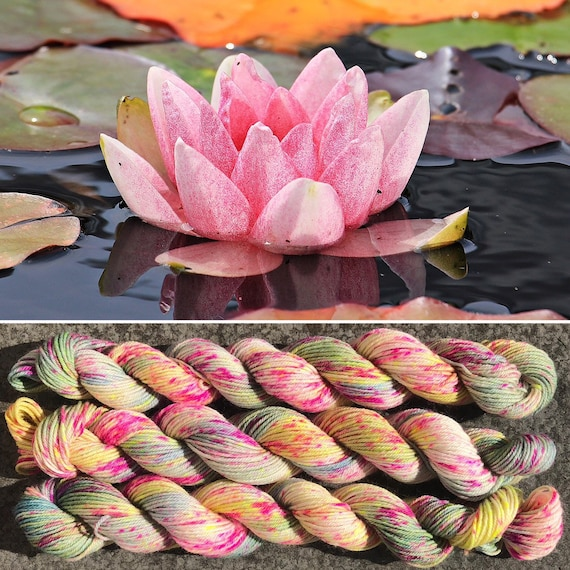 Waterlilies 20g Miniskein, merino nylon indie dyed sock yarn