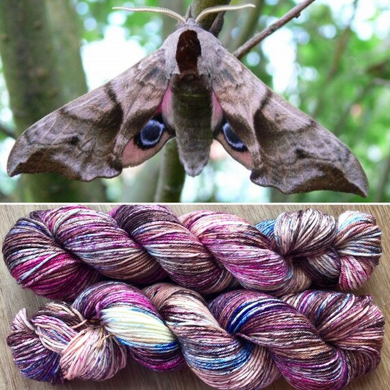April Hawkmoth DK, indie dyed merino nylon sock yarn