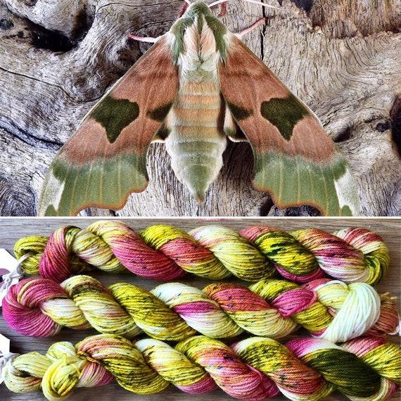 Elephant Hawkmoth 20g miniskein, indie dyed merino nylon sock yarn