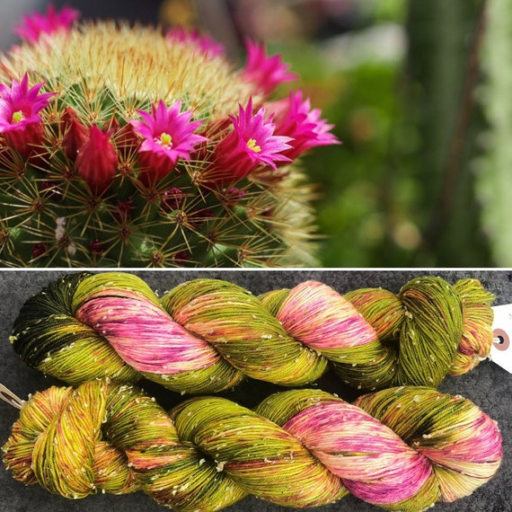 Flowering Cactus Donegal Sock, indie dyed merino yarn with cotton neps