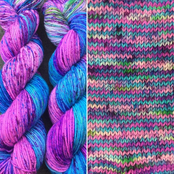 Blue Raspberry DK, speckled merino nylon blend double knit sock yarn