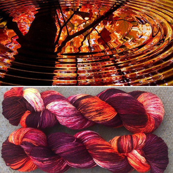 Autumn Ripples, indie dyed merino nylon sock yarn