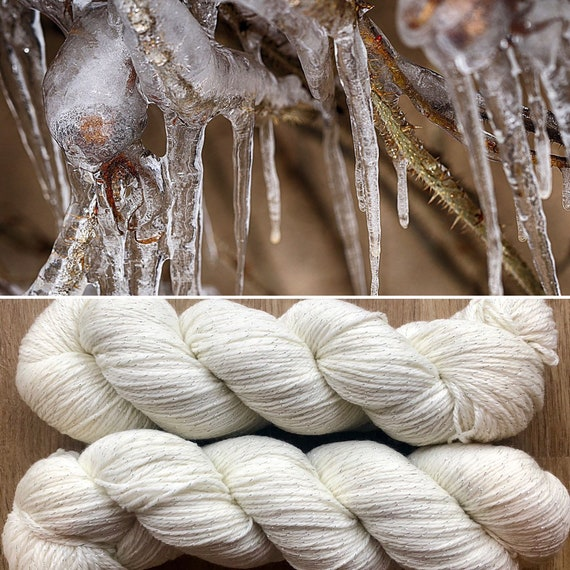Icicles, merino nylon sock yarn with silver sparkle