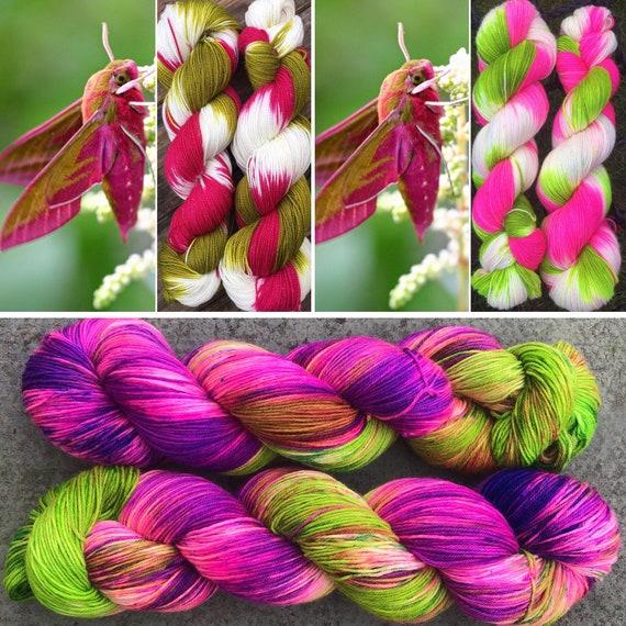 Zombie Hawkmoth, merino nylon sock yarn