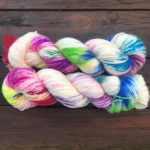 Industrial Accident Polwarth, rainbow speckled sock weight 4ply fingering yarn