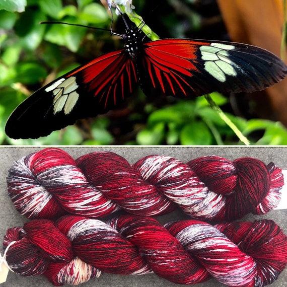 Postman Butterfly, merino nylon sock yarn