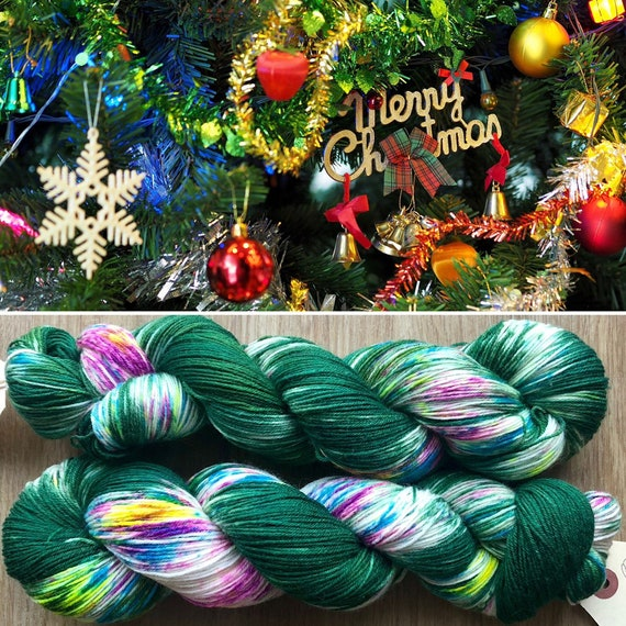 Christmas Tree BFL, rainbow speckled bluefaced leicester nylon sock yarn