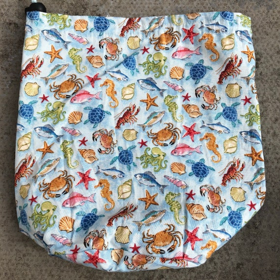 SALE Sea Life Blue, small drawstring project bag