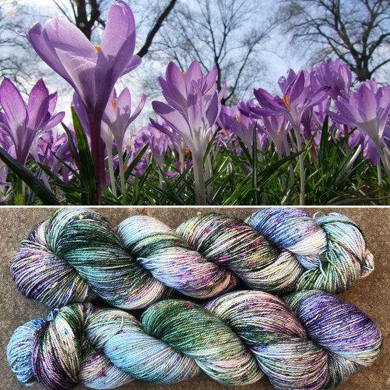 Woodland Crocuses Donegal Sock, indie dyed merino yarn