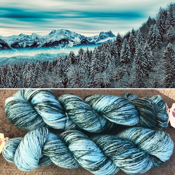 Frozen Forest Silky Sock, 4ply merino mulberry silk yarn
