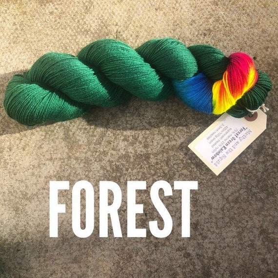 Forest Green Rainbow, merino nylon blend sock yarn