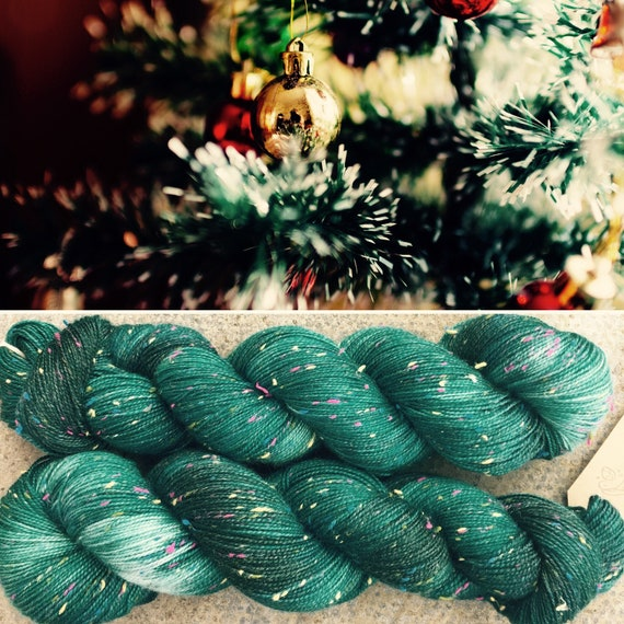 Christmas Tree Multicolour Donegal Sock, 4ply merino yarn with neps