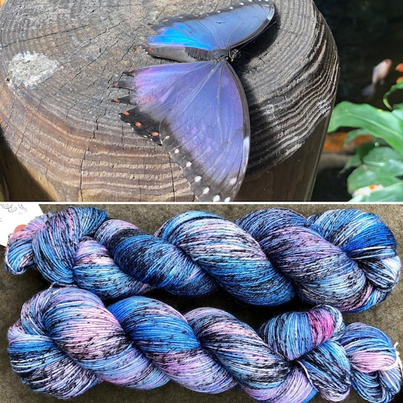 Peleides Blue Morpho BFL, bluefaced leicester nylon sock yarn