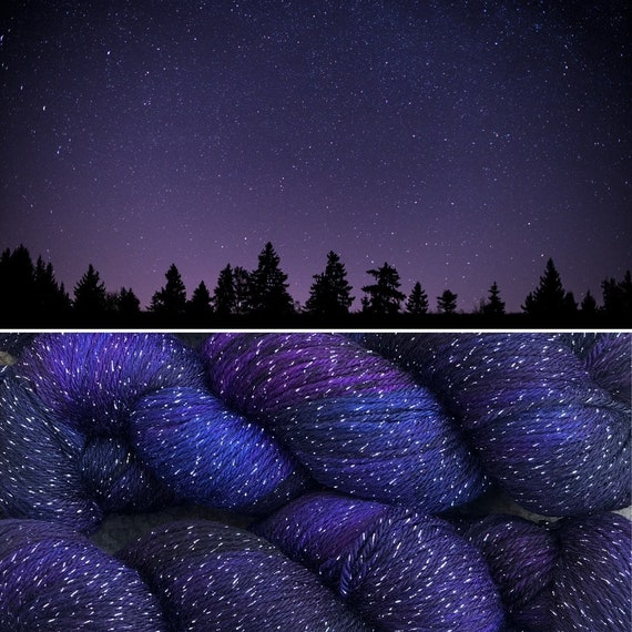 Distant Galaxies, merino nylon sparkle sock yarn