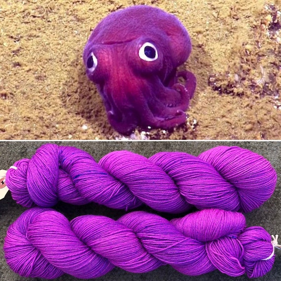 Stubby Squid BFL nylon pink purple UV reactive indie dyed sock yarn