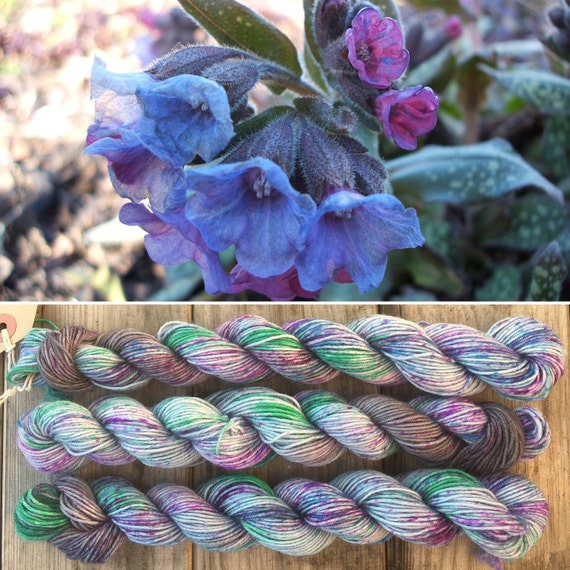 Lungwort 20g Miniskein, speckle dyed blue grey merino nylon sock indie yarn