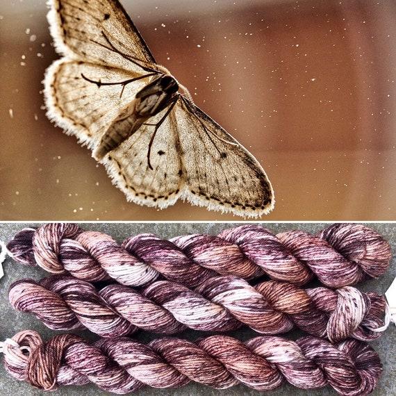 Brown Moth in Flight 20g Miniskein, indie dyed merino nylon sock yarn