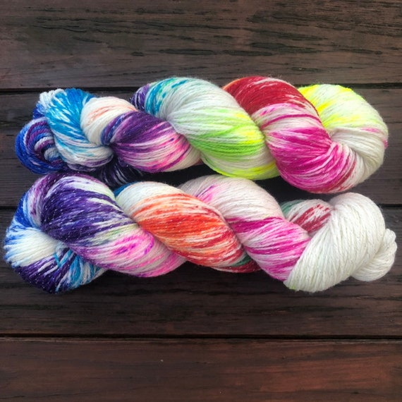 Industrial Sparkle, rainbow speckled sock yarn