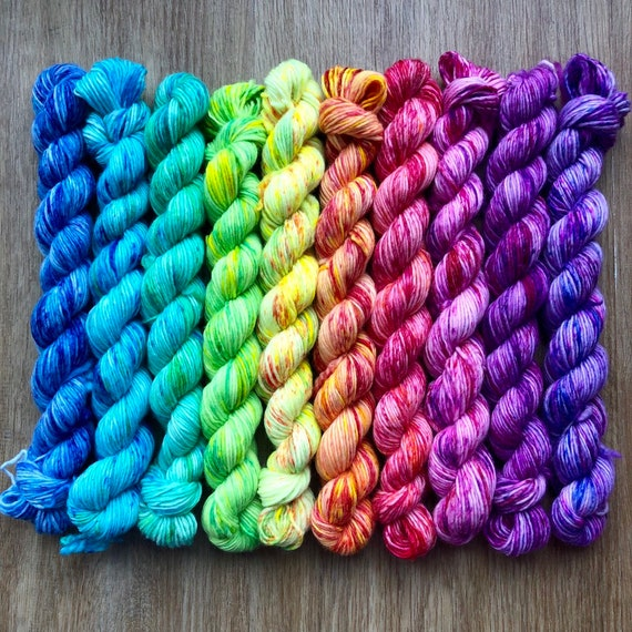 Single Ply Rainbow Miniskein Gift Set, 10 x 20g speckled merino fingering yarn