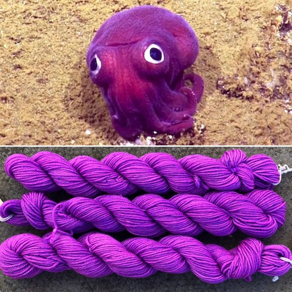 Stubby Squid 20g Miniskein, merino nylon UV reactive sock yarn