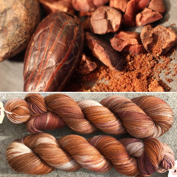 SALE Cocoa Pods, indie dyed chocolate merino nylon sock yarn