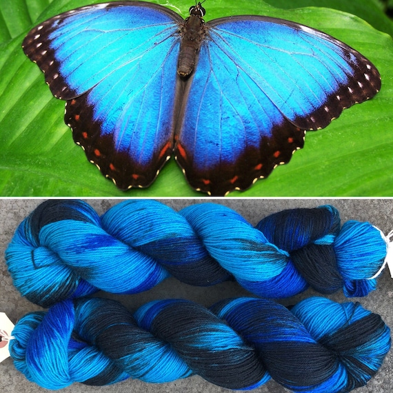 Blue Morpho BFL, butterfly theme bluefaced leicester nylon sock yarn