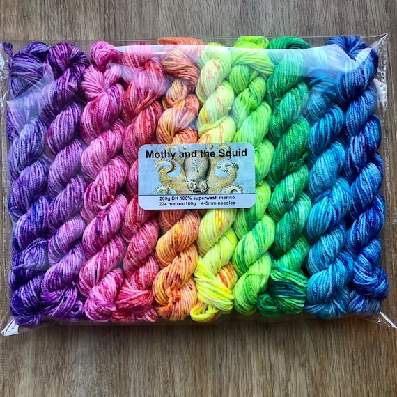 Fruit Sorbet Rainbow DK Miniskein Gift Set, 10 x 20g speckled merino yarn