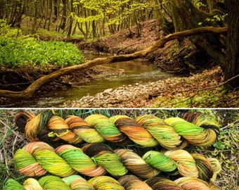 Spring is Here 20g Miniskein, indie dyed merino nylon sock yarn