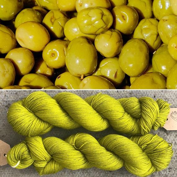 Olive, indie dyed merino nylon sock yarn