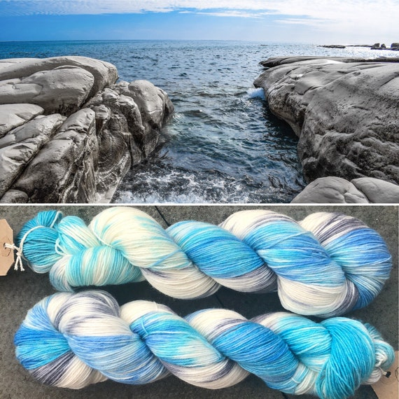 Stony Shore BFL, superwash bluefaced leicester nylon indie dyed sock yarn