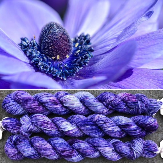 Purple Anemone 20g Miniskein, merino nylon blend sock yarn