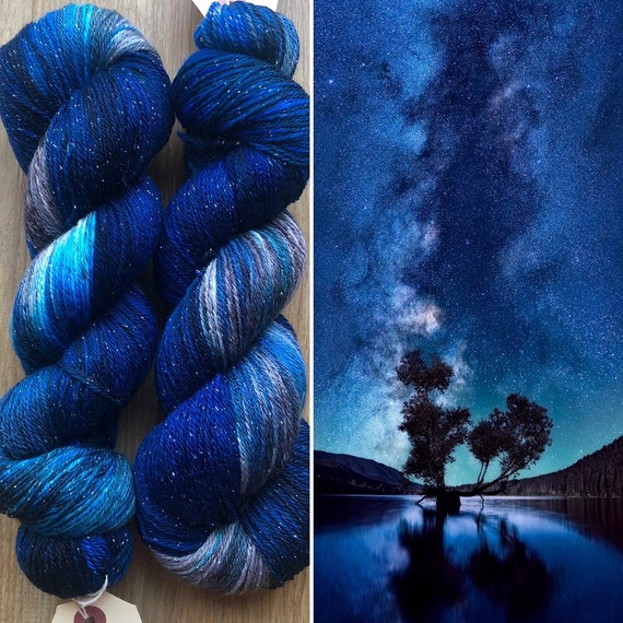 Night Sky Sparkle Sock, merino nylon yarn with silver sparkle