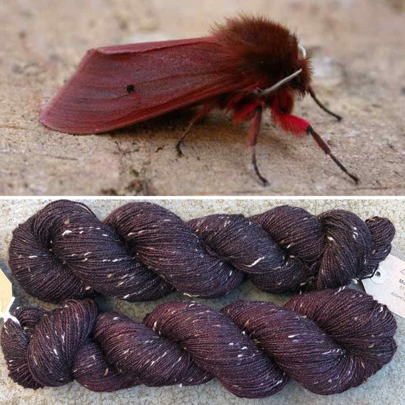 Ruby Tiger Moth Donegal Sock, 4ply merino yarn with neps
