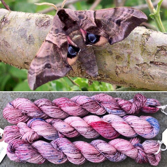 SALE May Hawkmoth 20g Miniskein, indie dyed merino nylon sock yarn