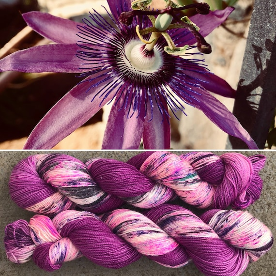 Passiflora Sparkle Sock, speckled merino nylon yarn with silver stellina