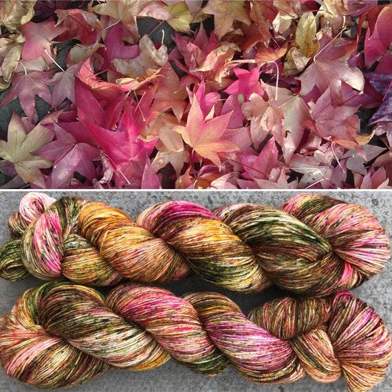 Japanese Maple, Autumn Fall inpired merino nylon sock yarn