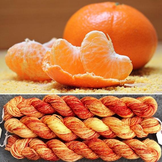 Relaxing In My Orangery, 20g miniskein merino nylon sock yarn