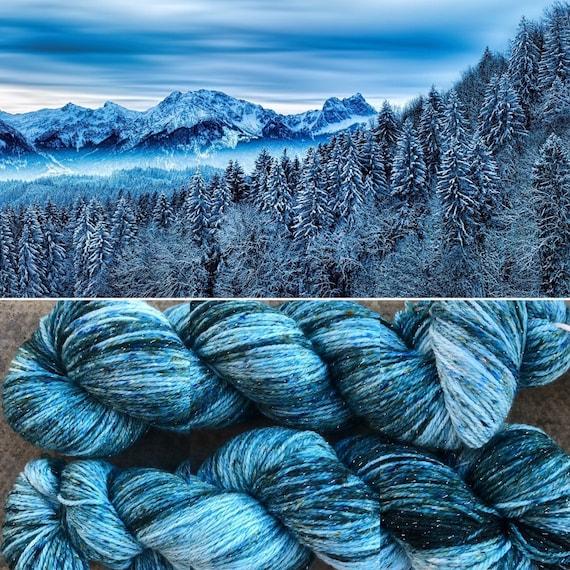 Frozen Forest Sparkle Sock, 4ply merino nylon yarn