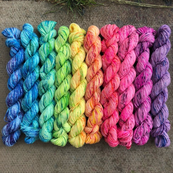 Fruit Sorbet Rainbow Miniskein Gift Set, 10 x 20g speckled merino nylon blend indie dyed sock yarn