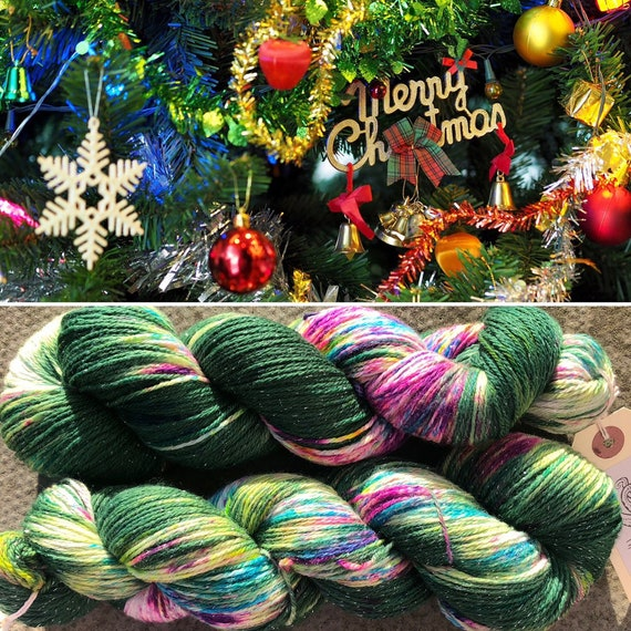 Christmas Tree Sparkle Sock, 4ply merino nylon yarn