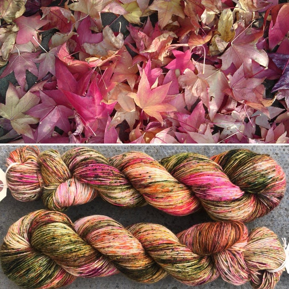 Japanese Maple BFL, Autumn Fall inpired  bluefaced leicester nylon sock yarn