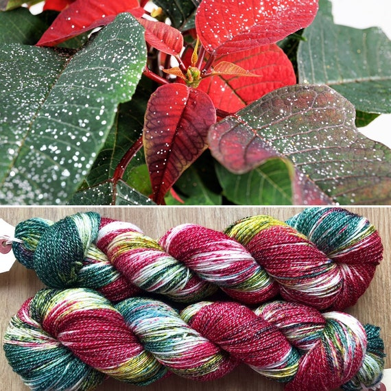 High Lurex Poinsettia Sparkle Sock, superwash merino yarn