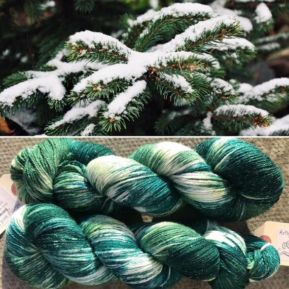Snowy Forest Sparkle Sock, 4ply merino nylon yarn