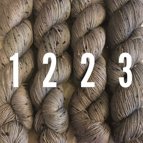 A Nice Grey Donegal sock, neutral gray textured indie dyed merino yarn choose your shade